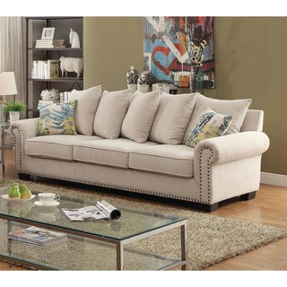 Furniture of America Casana Transitional Ivory Upholstered Sofa