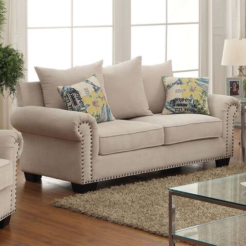 Furniture of America Riti Transitional Ivory Fabric Padded Loveseat
