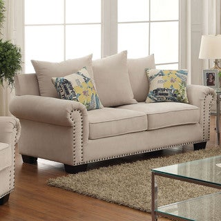 Furniture of America Casana Transitional Ivory Upholstered Loveseat