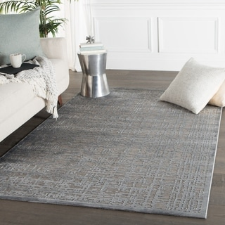Contemporary Abstract Pattern Gray Rayon Chenille Area Rug (5' x 7'6)