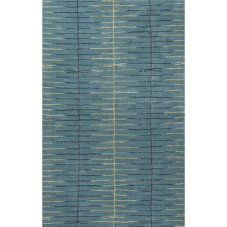 Contemporary Tribal Pattern Blue Wool and Art Silk Area Rug (5' x 8')