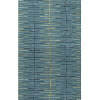 Loran Handmade Stripe Teal/ Green Area Rug (5' X 8')