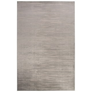 Contemporary Abstract Pattern Ivory/Blue Rayon Chenille Area Rug (5' x 7'6)