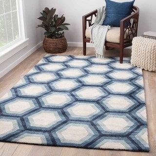 Park Handmade Geometric Blue/ Cream Area Rug (5' X 8')