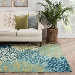 Contemporary Abstract Pattern Blue/Green Polyester Area Rug (5' x 7'6)
