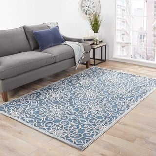 Contemporary Trellis, Chain And Tile Pattern Blue/Gray Rayon Chenille Area Rug (5' x 7'6)