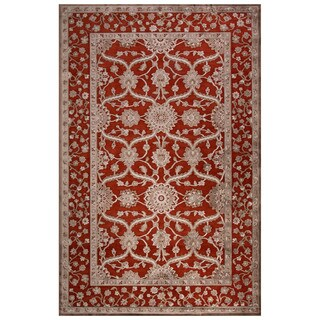 Classic Oriental Pattern Red/Gray Rayon Chenille Area Rug (5' x 7'6)