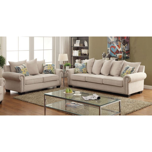 Furniture of america casana transitional ivory upholstered for Today s home furniture