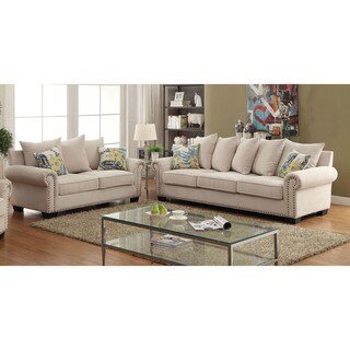 Furniture of America Casana Transitional Ivory Upholstered Sofa Set