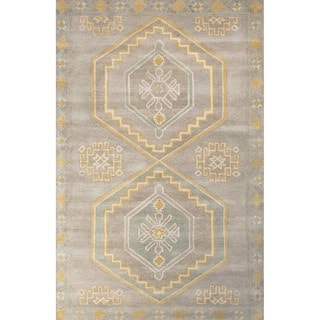 Contemporary Tribal Pattern Gray/Blue Wool Area Rug (5' x 8')