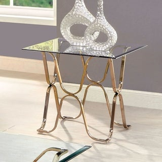 Furniture of America Tellarie Contemporary Champagne End Table