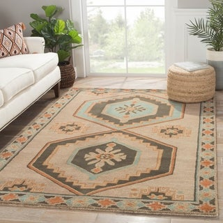 Contemporary Tribal Pattern Taupe/Orange Wool Area Rug (5' x 8')