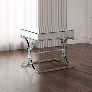 Furniture of America Orelia Luxury Chrome Metal End Table