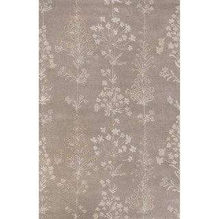 Classic Floral & Leaves Pattern Taupe/Ivory Wool and Art Silk Area Rug (5' x 8')