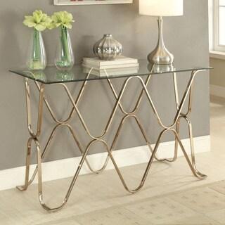 Furniture of America Tellarie Contemporary Champagne Sofa Table