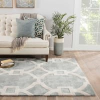 Bronx Handmade Trellis Light Blue/ White Area Rug (5' X 8') - 5' x 8'