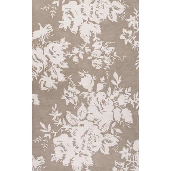 9 X 12 Nourison Nourmak Hand Knotted 100 Wool Persian: Scarlet Handmade Floral Taupe/ White Area Rug (5' X 8