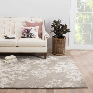 Contemporary Floral & Leaves Pattern Gray/Ivory Wool and Art Silk Area Rug (5' x 8')