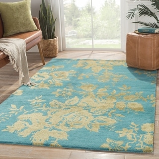 Contemporary Floral & Leaves Pattern Blue/Green Wool and Art Silk Area Rug (5' x 8')