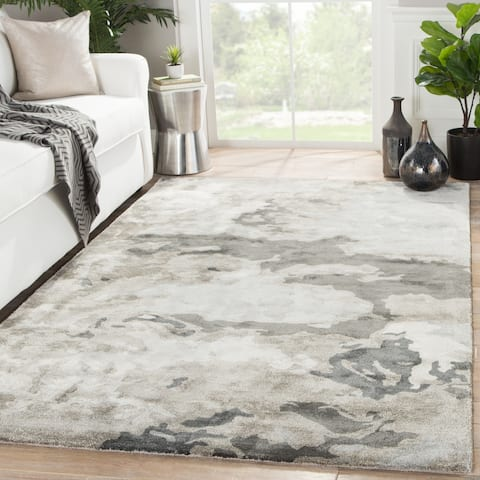 Mudra Handmade Abstract Gray/ Silver Area Rug - 5' x 8'