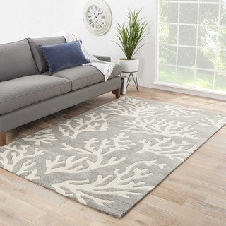 Contemporary Coastal Pattern Gray/Ivory Polyester Area Rug (5' x 7'6)