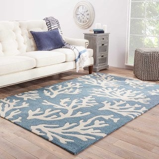 Contemporary Coastal Pattern Blue/Ivory Polyester Area Rug (5' x 7'6)