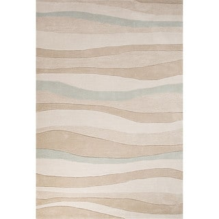Contemporary Coastal Pattern Beige/Blue Polyester Area Rug (5' x 7'6)