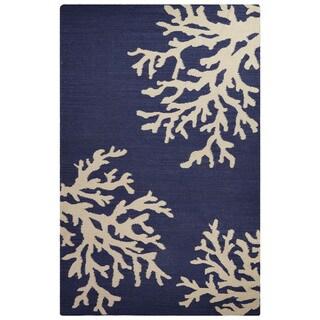Flatweave Coastal Pattern Blue/Ivory Wool Area Rug (5' x 8')