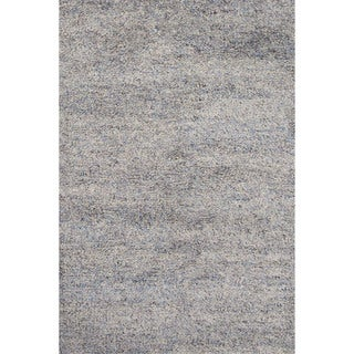 Shag Solid Pattern Blue Wool Area Rug (5' x 8')