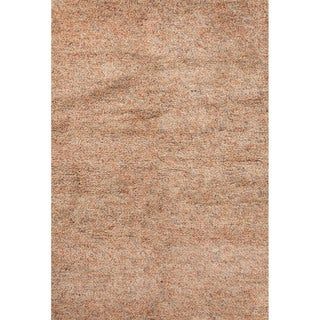 Shag Solid Pattern Orange Wool Area Rug (5' x 8')