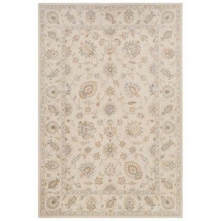 Classic Oriental Pattern Ivory/White Wool and Art Silk Area Rug (5' x 8')