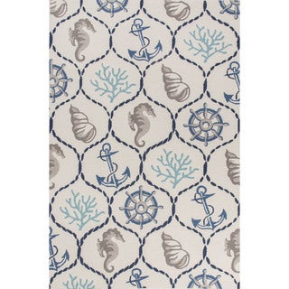 Contemporary Coastal Pattern Ivory/Blue Polyester Area Rug (5' x 7'6)