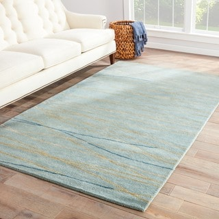 Contemporary Coastal Pattern Blue Wool and Art Silk Area Rug (5' x 8')
