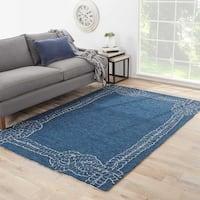 """Pier Indoor/ Outdoor Bordered Blue/ Gray Area Rug (5' X 7'6"""") - 5' x 7'6"""