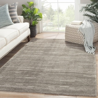Contemporary Solid Pattern Gray Wool and Art Silk Area Rug (9' x 12')