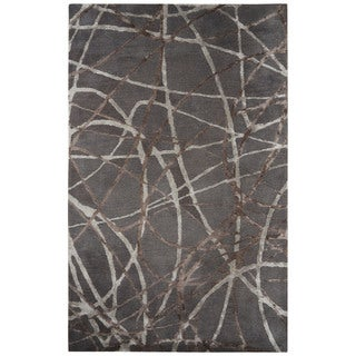 Jazz Handmade Abstract Gray/ Brown Area Rug (5' X 8') - 5' x 8'