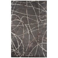 Jazz Handmade Abstract Gray/ Brown Area Rug (5' X 8')