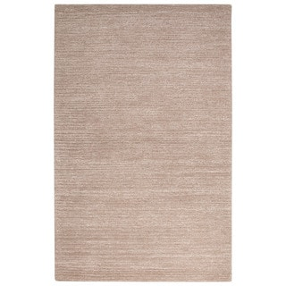 Contemporary Solid Pattern Tan Wool and Art Silk Area Rug (9' x 12')