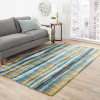 Kyma Handmade Stripe Blue/ Gold Area Rug (5' X 8')