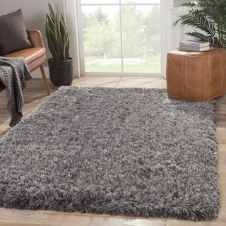 Shag Solid Pattern Gray Polyester Area Rug (5' x 7'6)