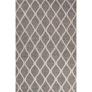 Contemporary Tribal Pattern Dark Gray/Ivory Wool and Art Silk Area Rug (5' x 8')