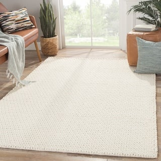 Solids Tribal Pattern Natural Wool Area Rug (5' x 8')