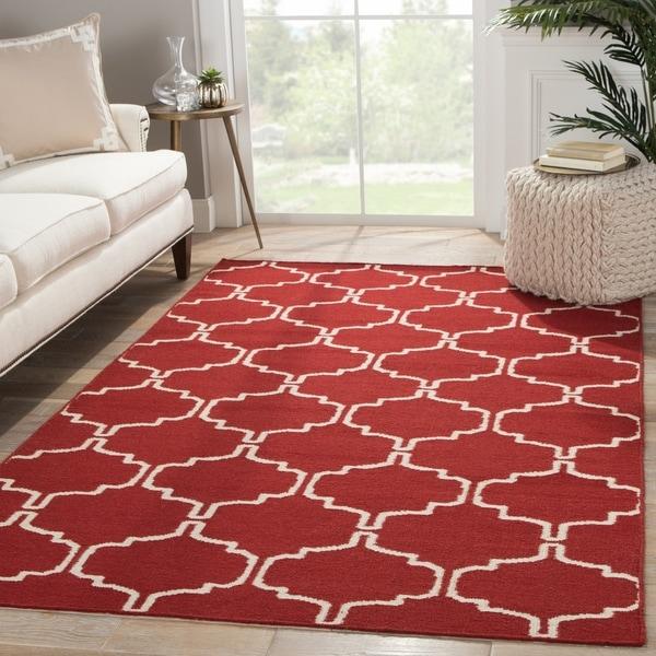 Handmade Geometric Red Area Rug (5' X 8') - 5' x 8'