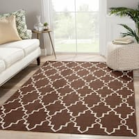 Handmade Geometric Brown Area Rug (5' X 8')