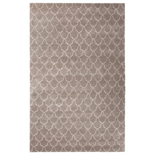 Contemporary Trellis, Chain And Tile Pattern Ivory/White Wool and Art Silk Area Rug (9'6 x 13'6)