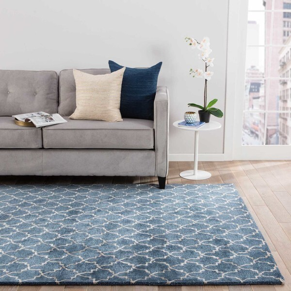 "Menlowe Handmade Geometric Blue/ Gray Area Rug (8' X 11') - 7'10"" x 10'10"""
