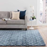 Menlowe Handmade Geometric Blue/ Gray Area Rug (8' X 11') - 8' x 11'