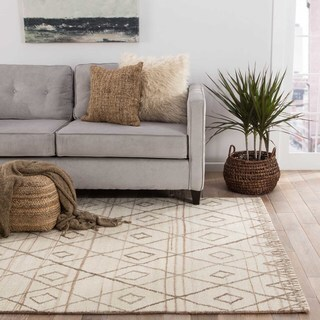 Contemporary Tribal Pattern Ivory/Natural Wool Area Rug (8' x 10')