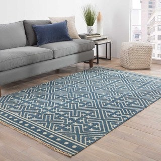 Farida Handmade Geometric Blue/ White Area Rug (9' X 12')