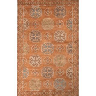 Contemporary Tribal Pattern Orange/Blue Wool Area Rug (5' x 8')